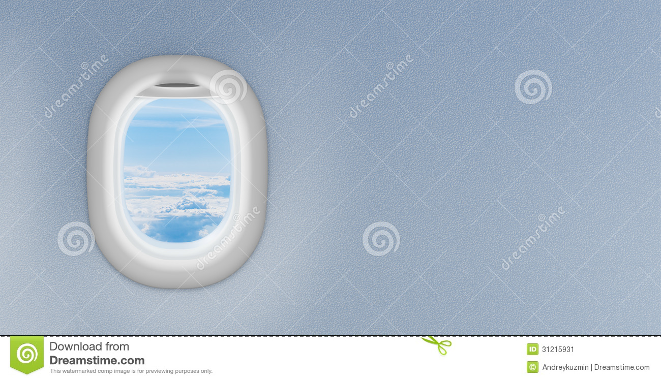 Airplane window or porthole with copyspace