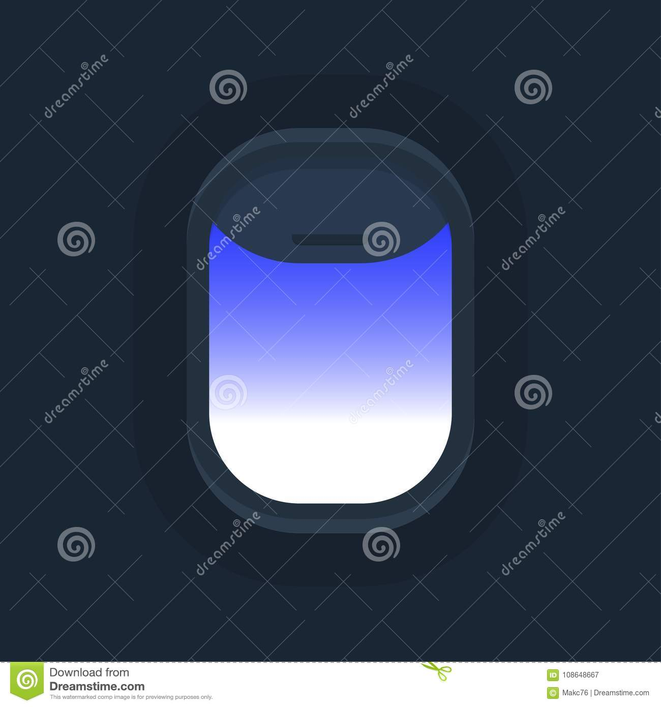 Airplane Windows With Cloudy Blue Sky Outside Stock Vector