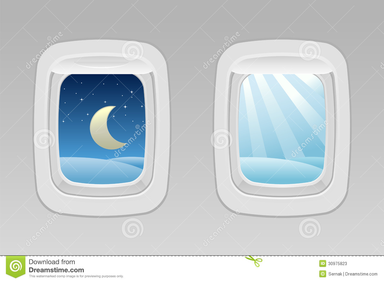 Vector illustration of airplane windows night and day- Separate layers ...