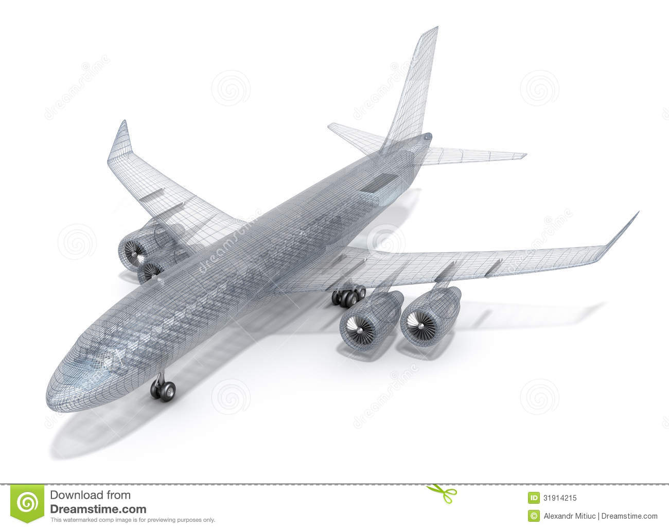 Airplane Wire Model , On White Stock Illustration - Illustration of ...