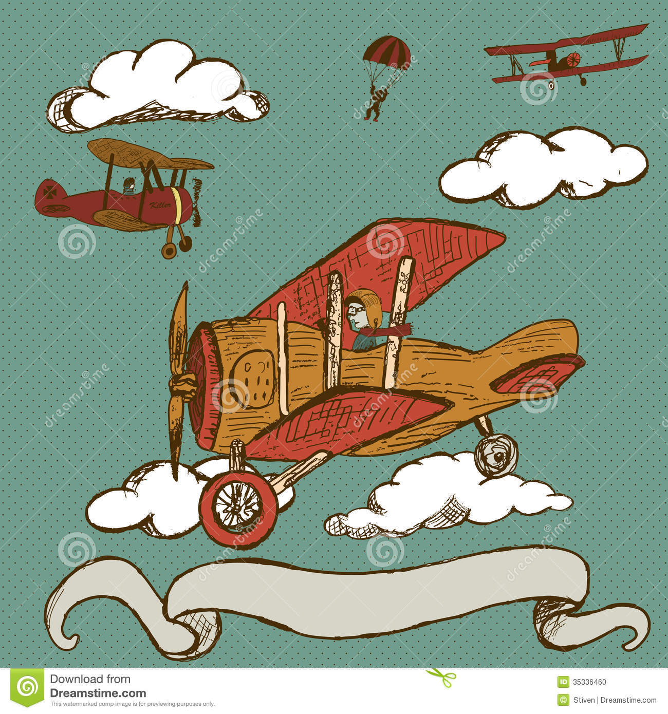 Airplanes With Banner Stock Vector Illustration Of Comics