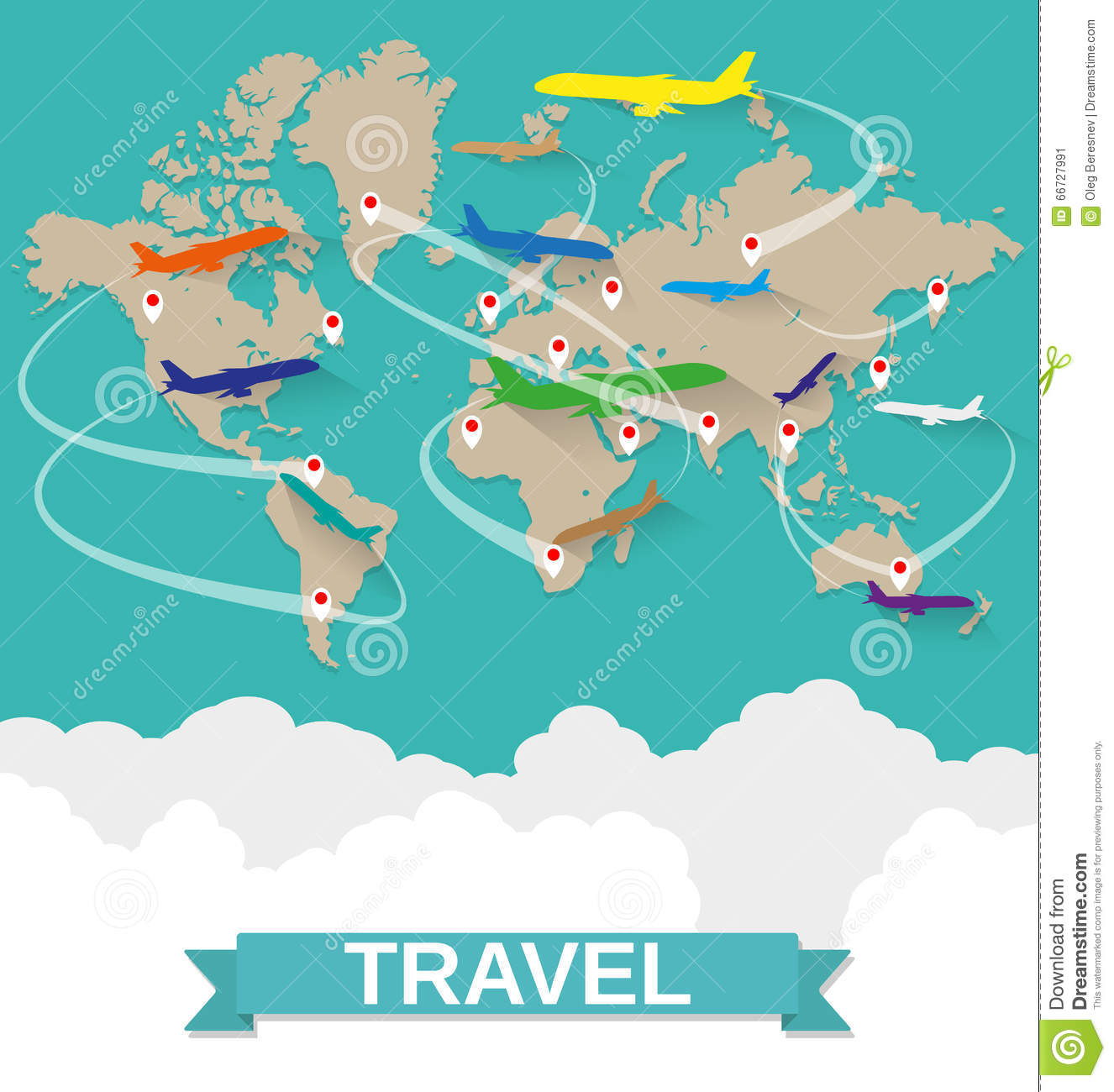 airplanes map with routes royalty free vector