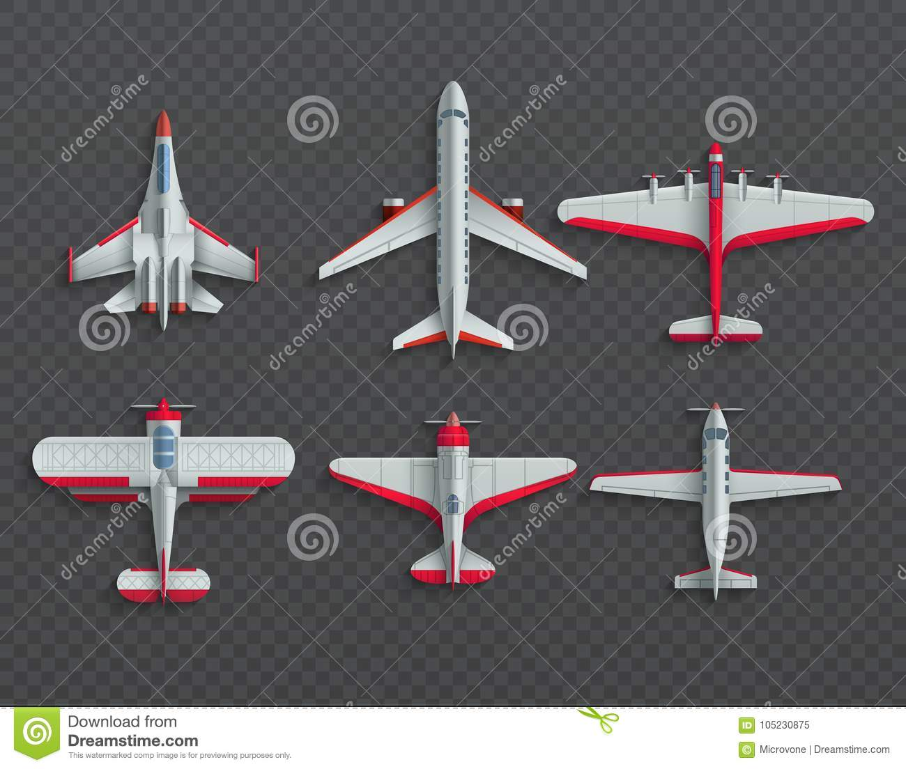 Airplanes And Military Aircraft Top View  3d Airliner And