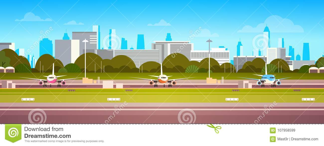 Airplanes Over Airport Building, Modern Terminal With Plane On Runway Waiting For Take Off Modern City Background