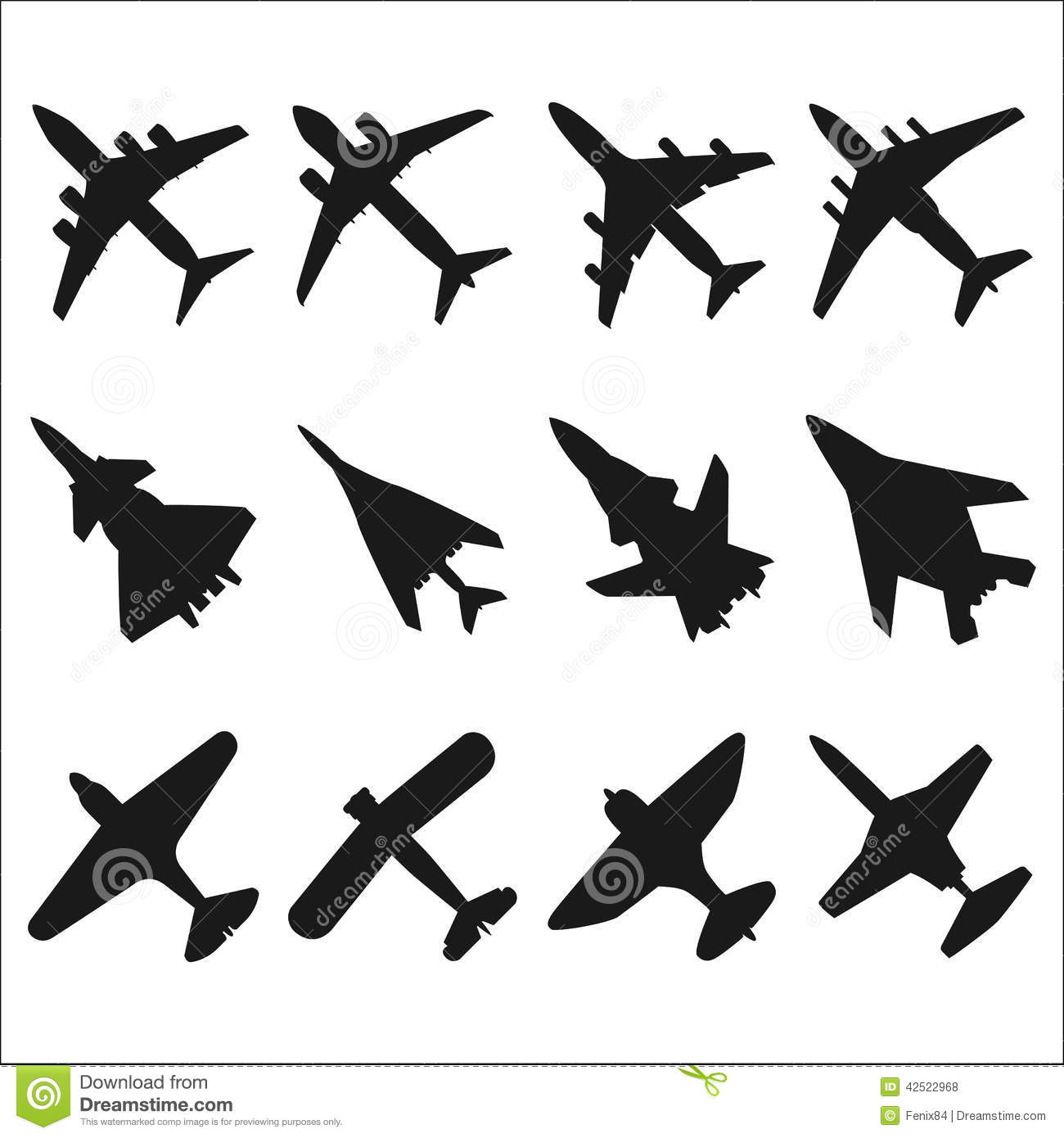 Silhouettes of aircraft of various types: passenger, cargo, military ...