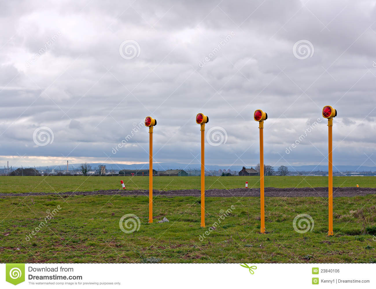 Airport Approach Landing Lights Stock Photo - Image of
