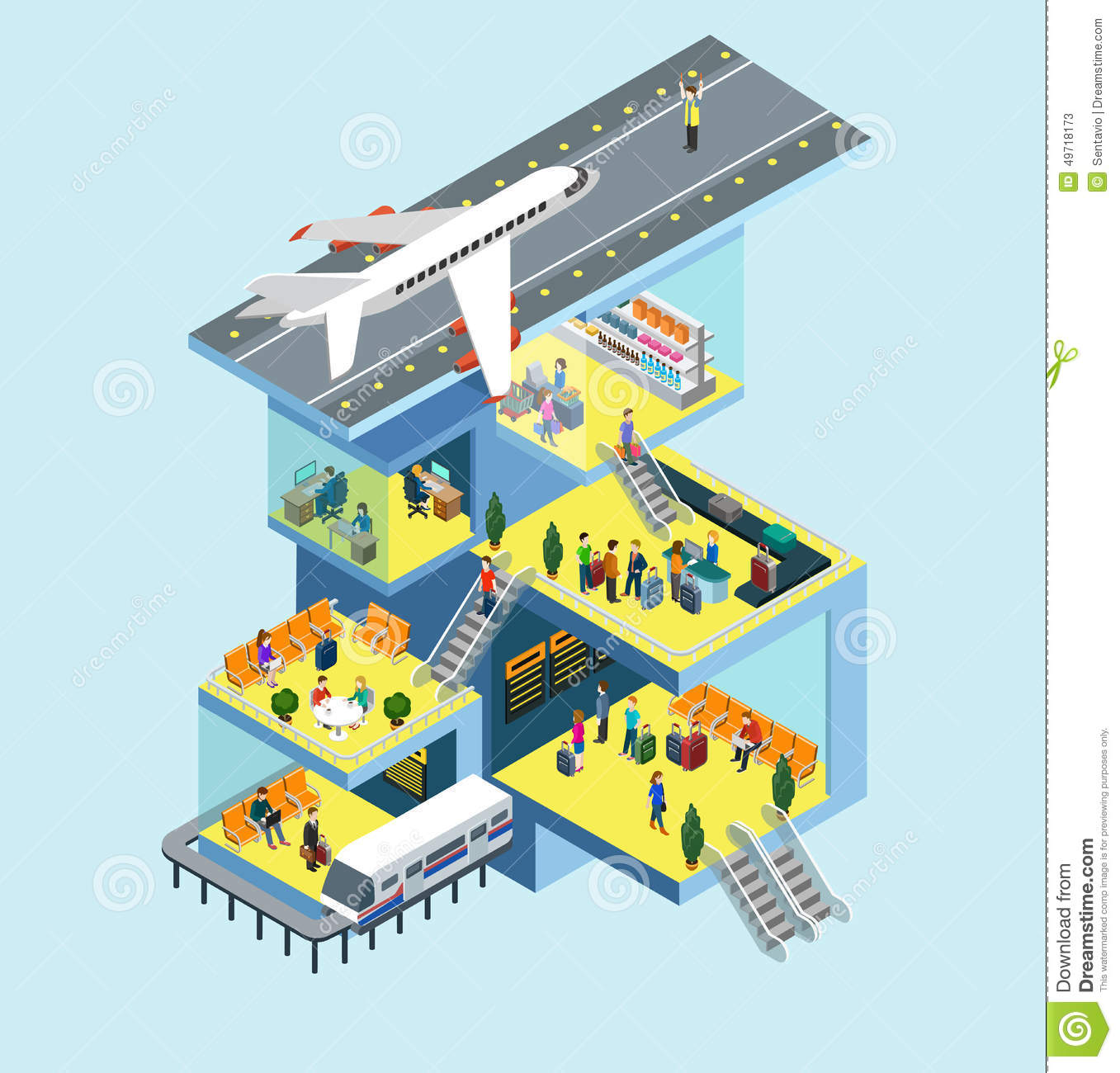 Airport Building Runway Plane Flat 3d Web Isometric