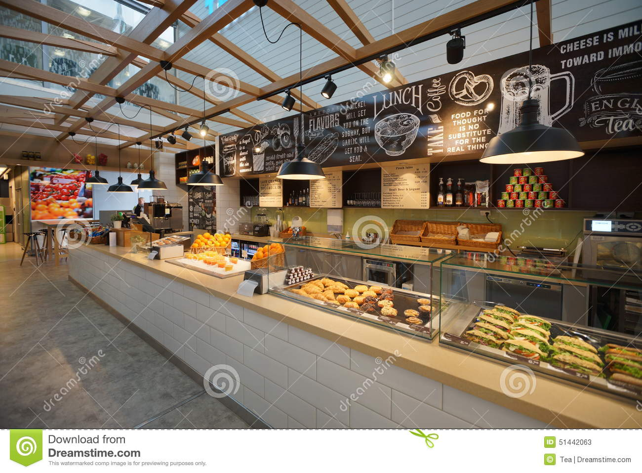Airport cafe interior editorial stock photo image