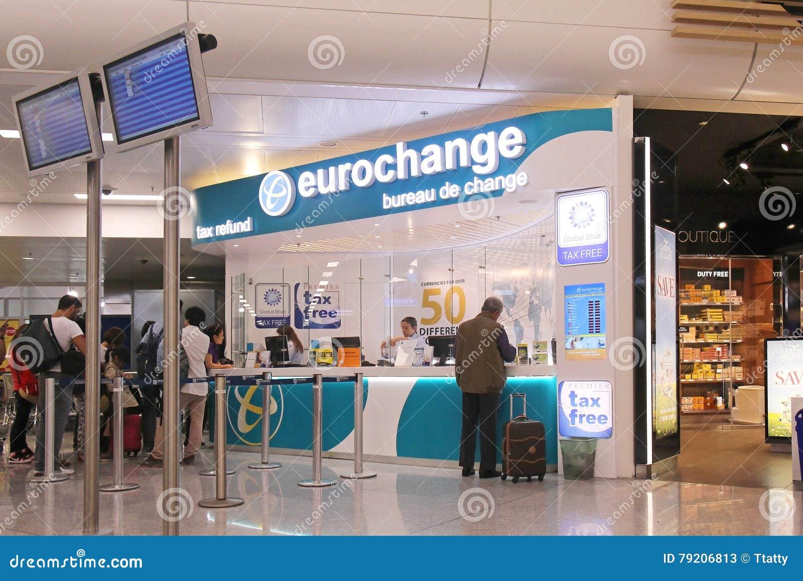 Exchange bureau de change: motion of passengers at foreign currency