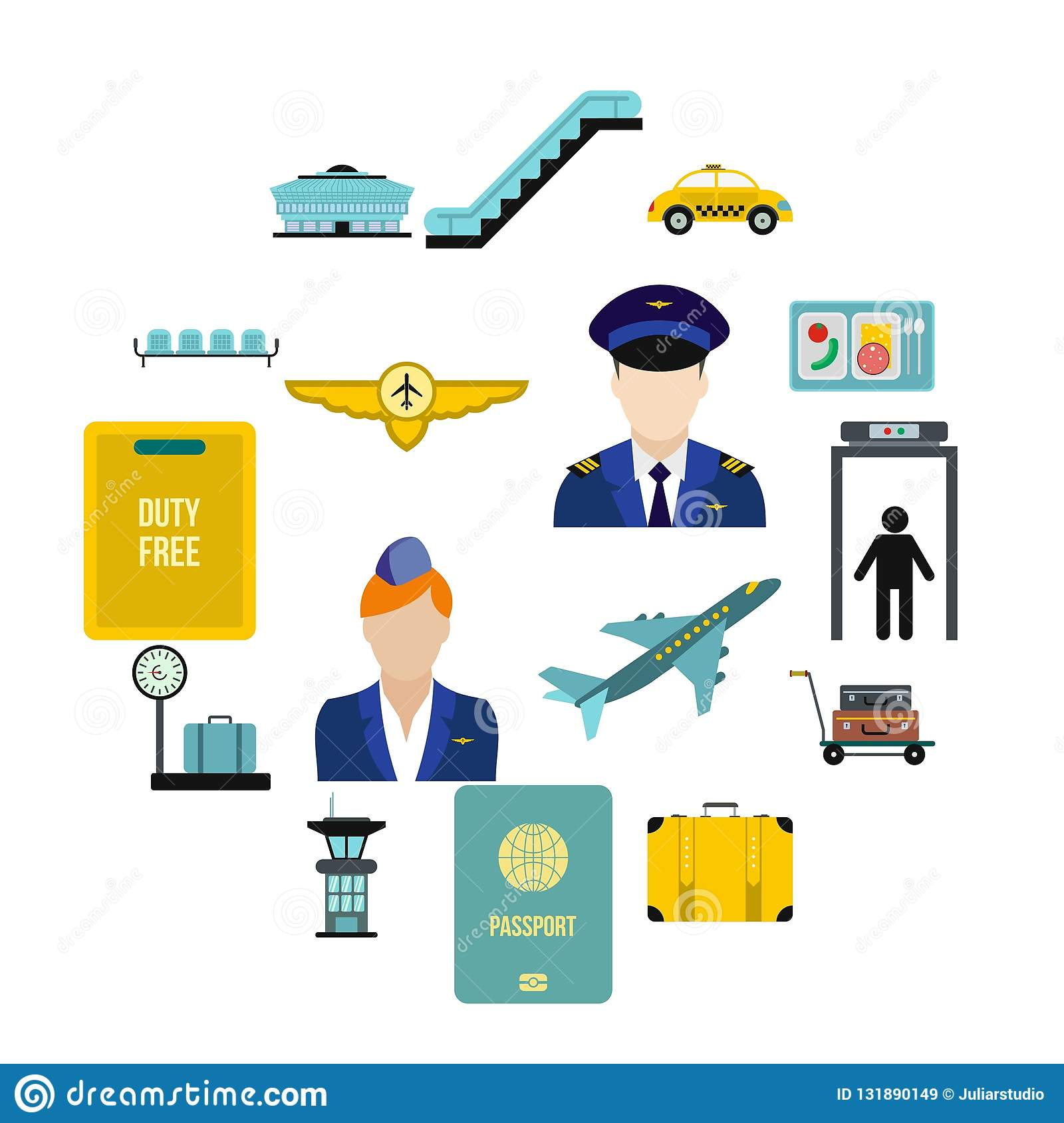 Airport flat icons. Set isolated on white background royalty free stock images