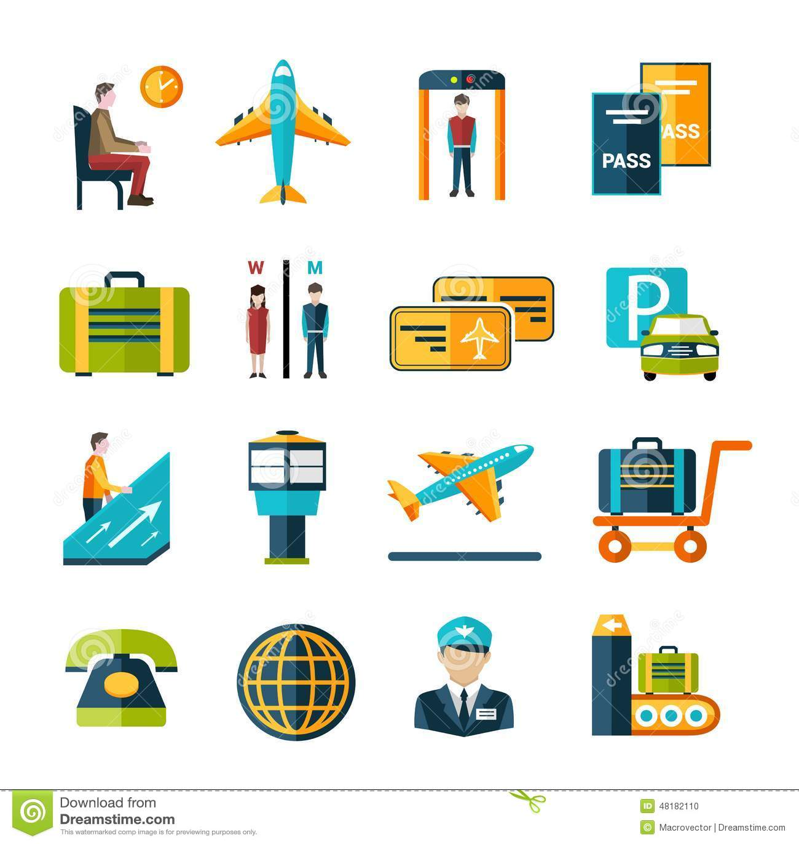 Airport Icon Set Stock Vector
