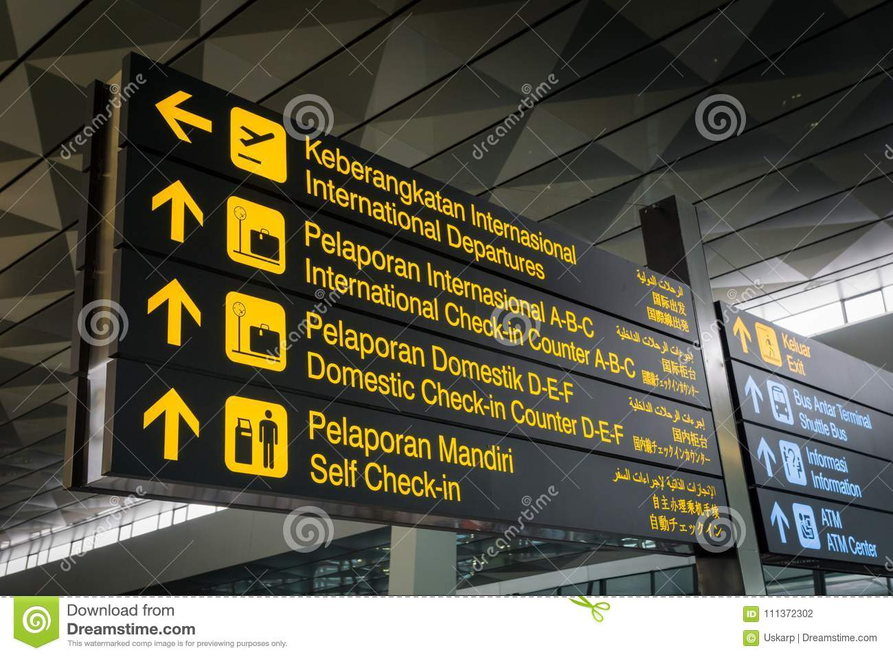 Airport information board signs