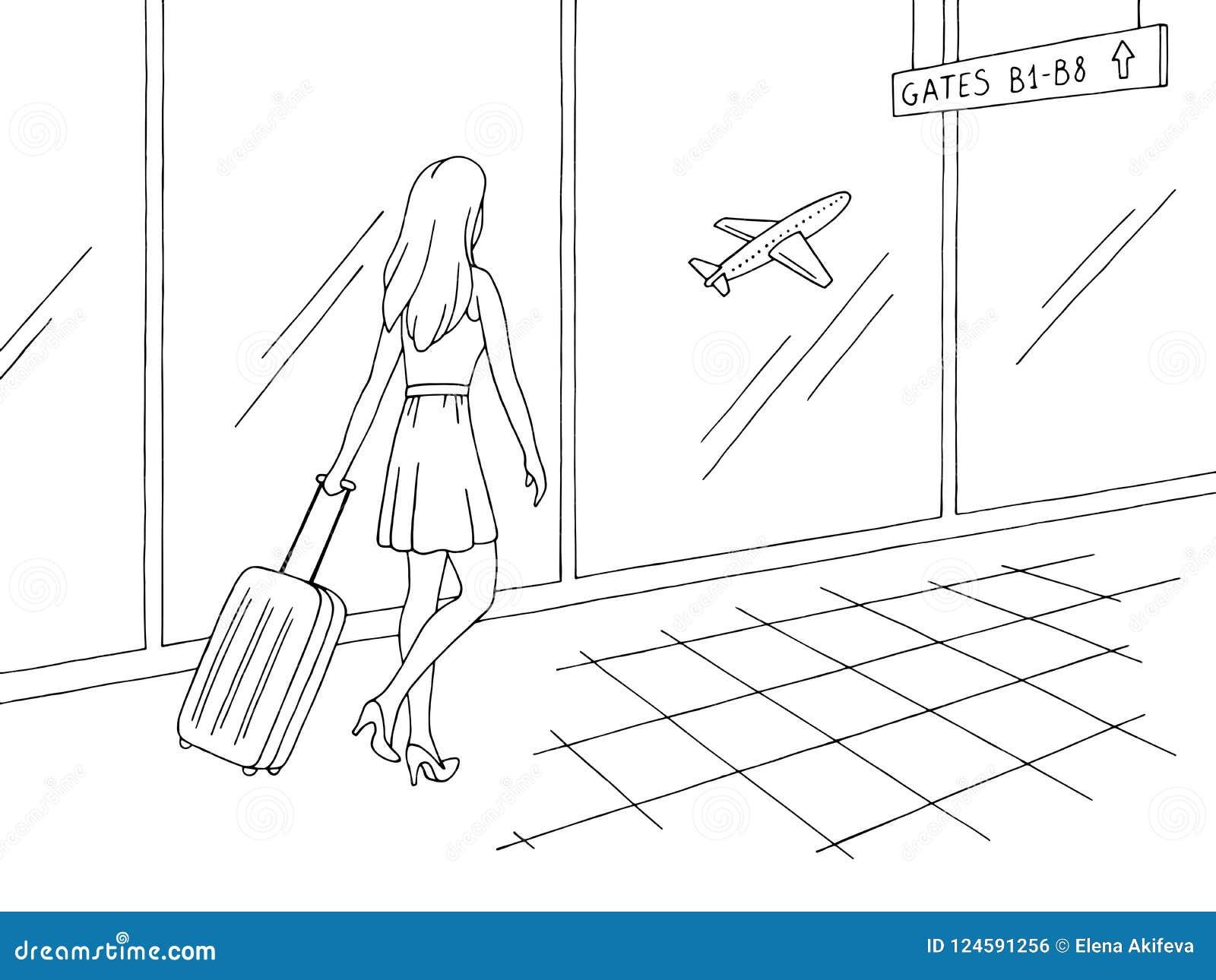 Airport Interior Graphic Black White Sketch Illustration Vector
