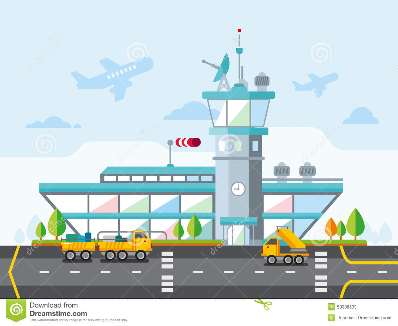 Airport modern flat design vector illustration stock for Flat design pictures