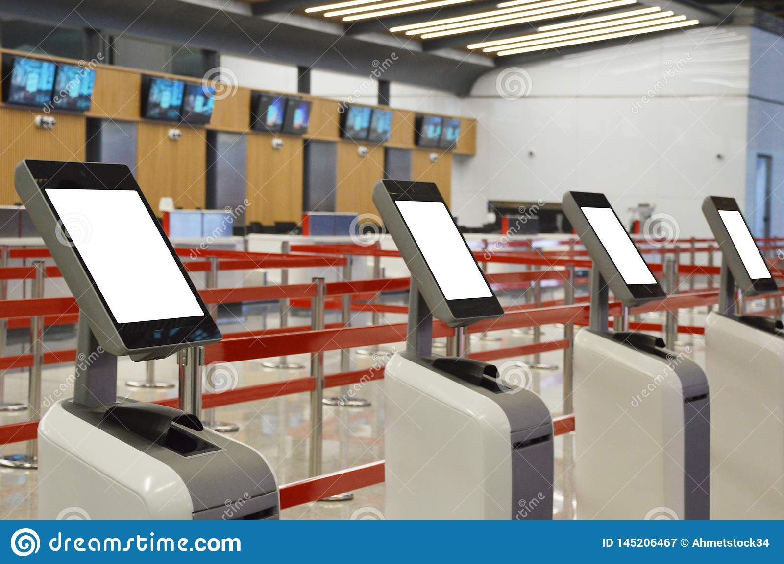 Airport Online Self Check-in Kiosk Stock Image - Image of design