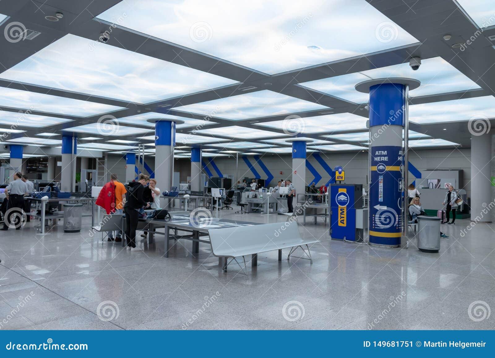 Airport, palma, mallorca, spain, 2019 april 14: security check at the airport of palma, mallorca
