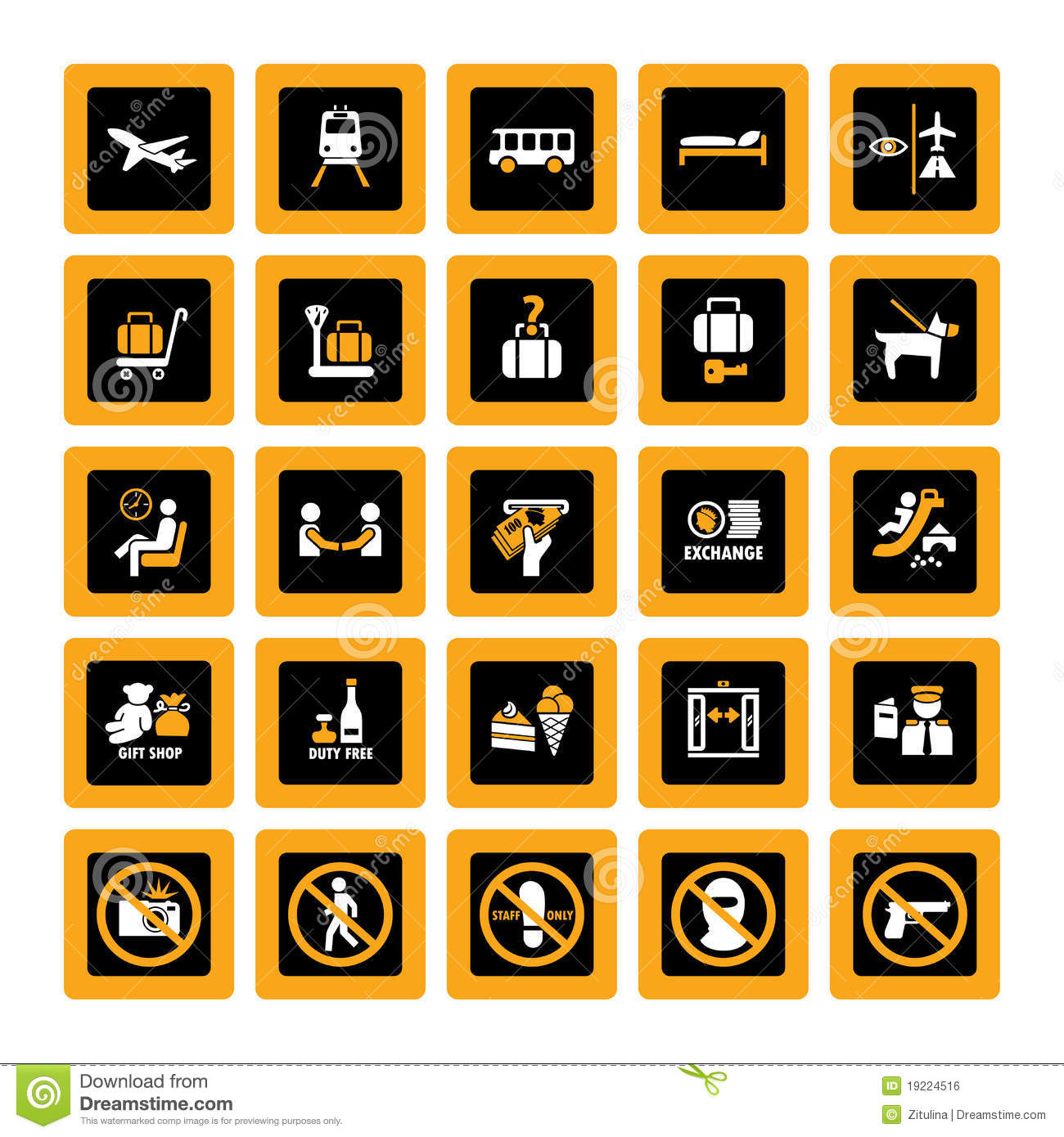 Airport Pictograms Inverse Royalty Free Stock Image