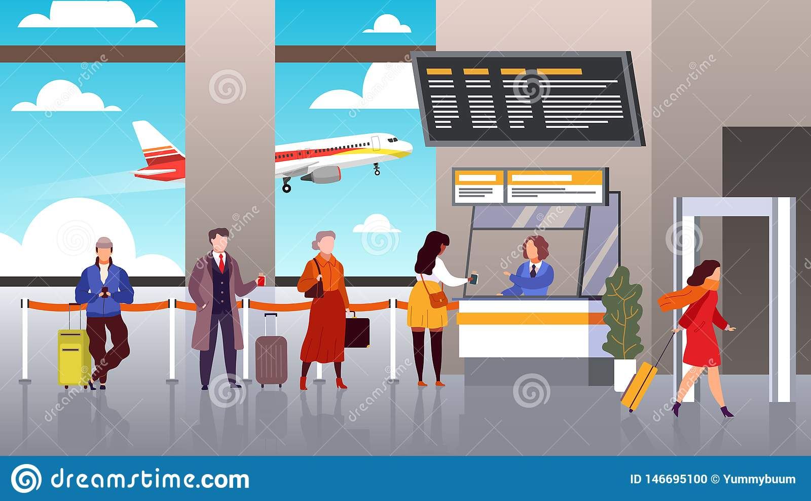 Airport registration. People queue departure passengers in line baggage register flight check terminal tourism travel