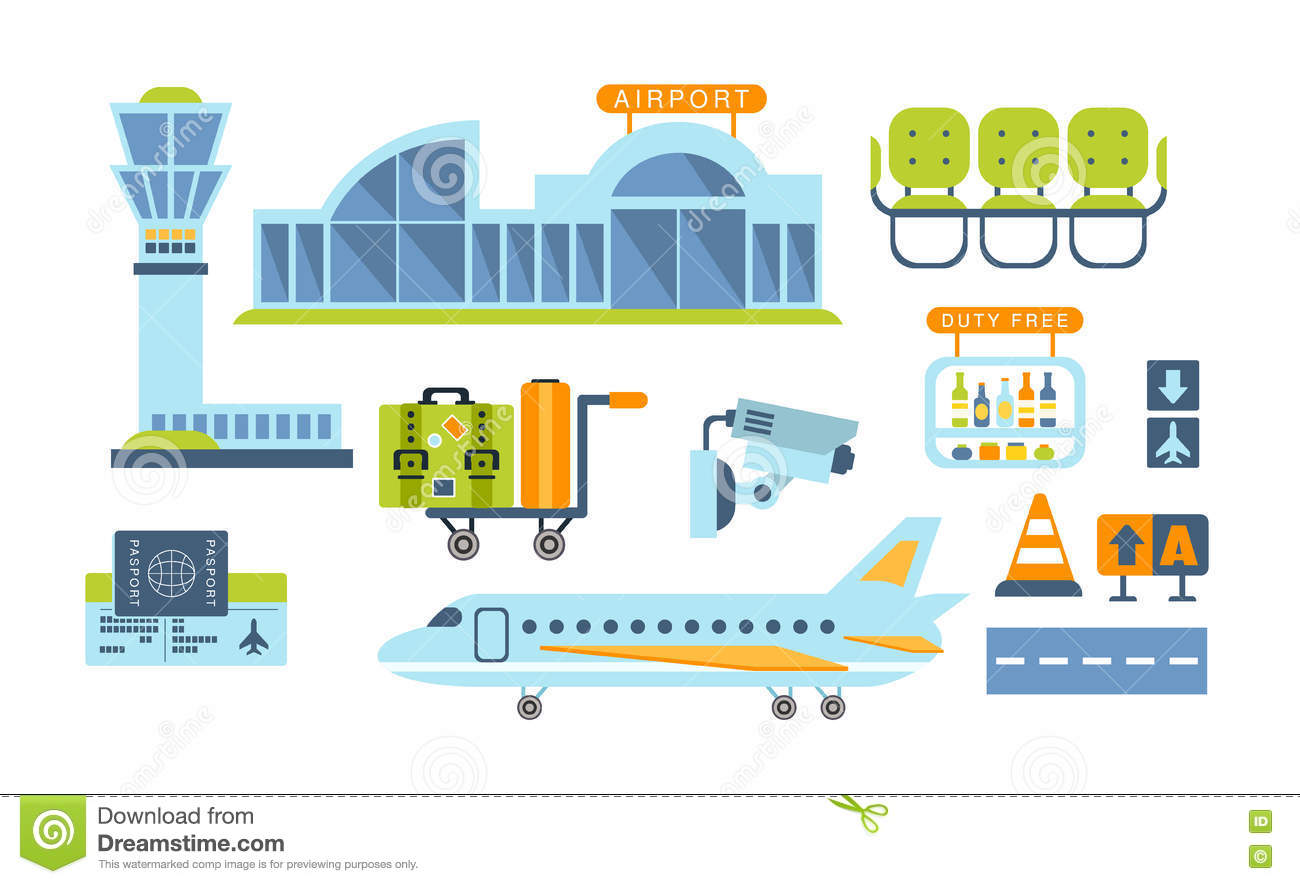 Airport Related Objects Set Stock Vector Image 74173998