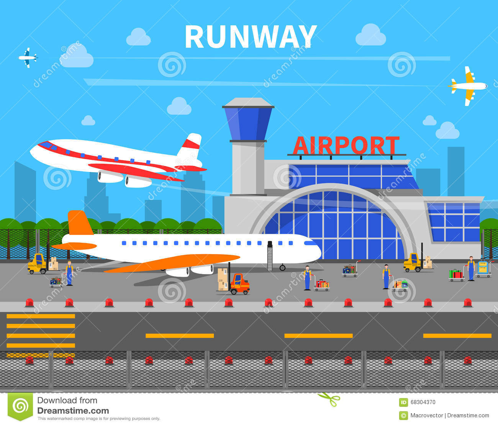Airport Runway Illustration Stock Vector Image 68304370