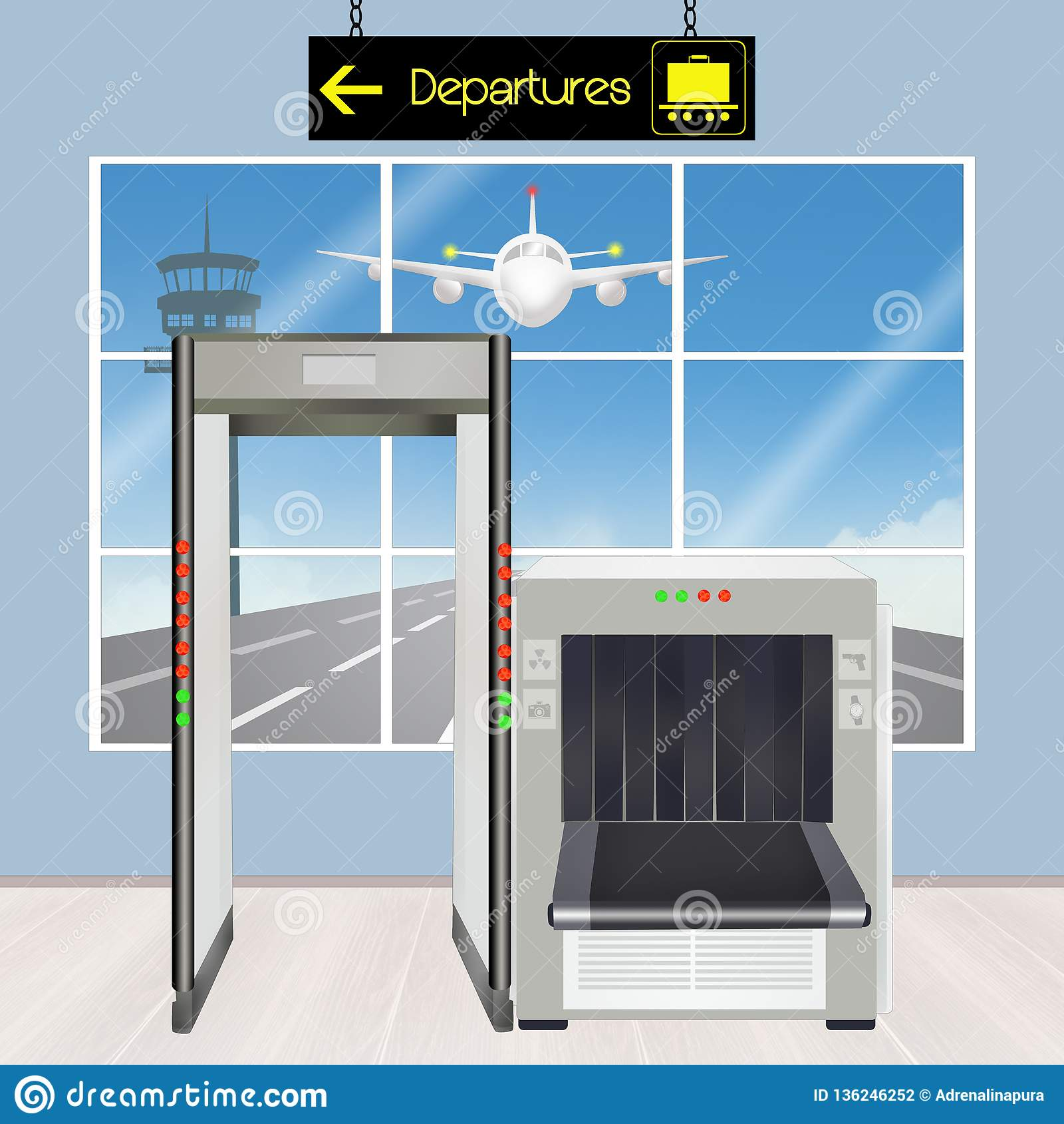 Airport security scanner stock illustration  Illustration of