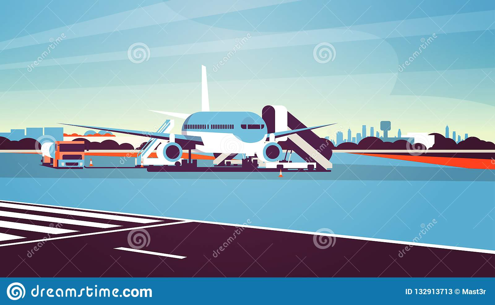 Airport terminal aircraft flying plane taking off waiting to board passengers cityscape background flat horizontal