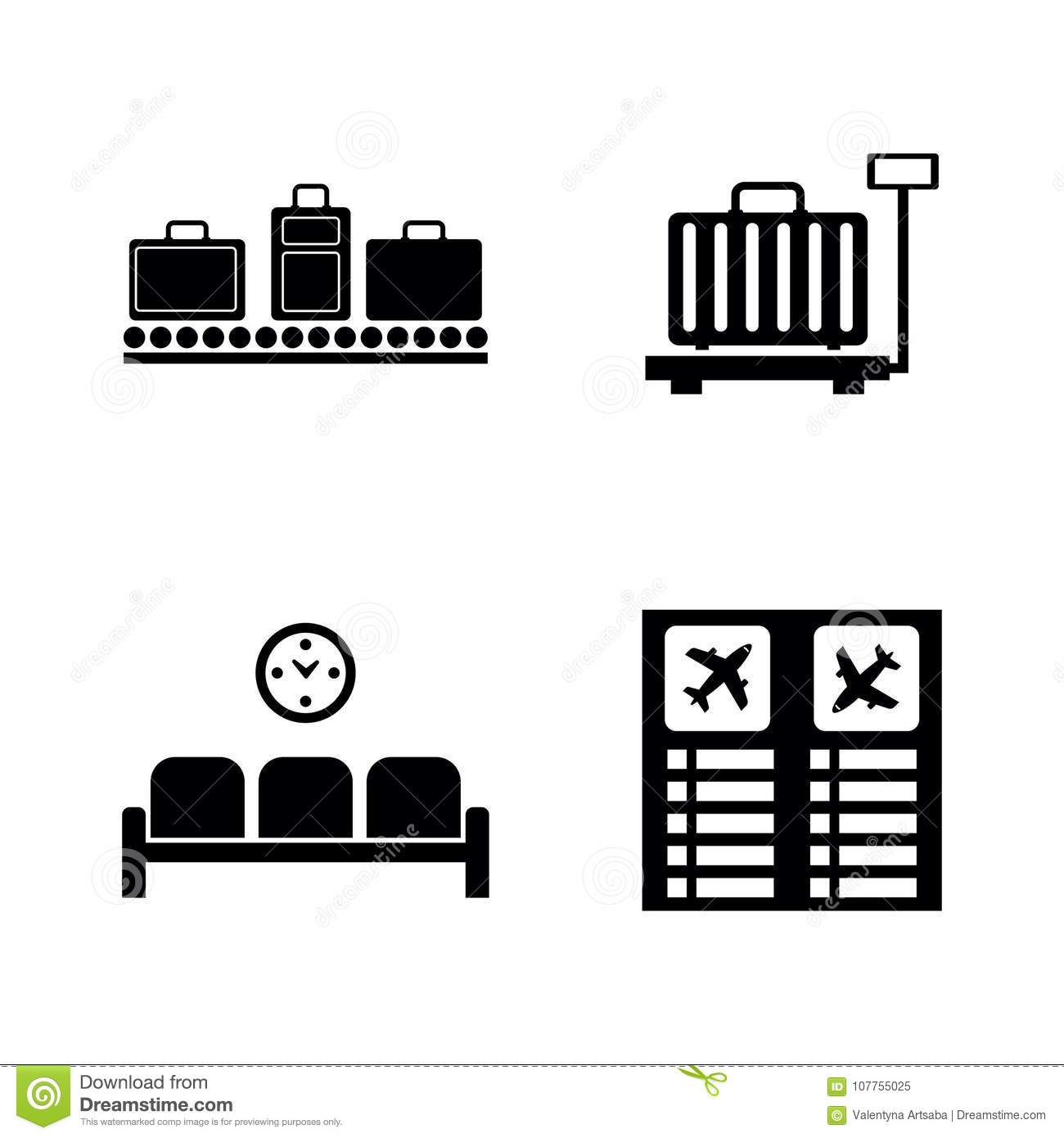 Airport Terminal  Simple Related Vector Icons Stock Vector