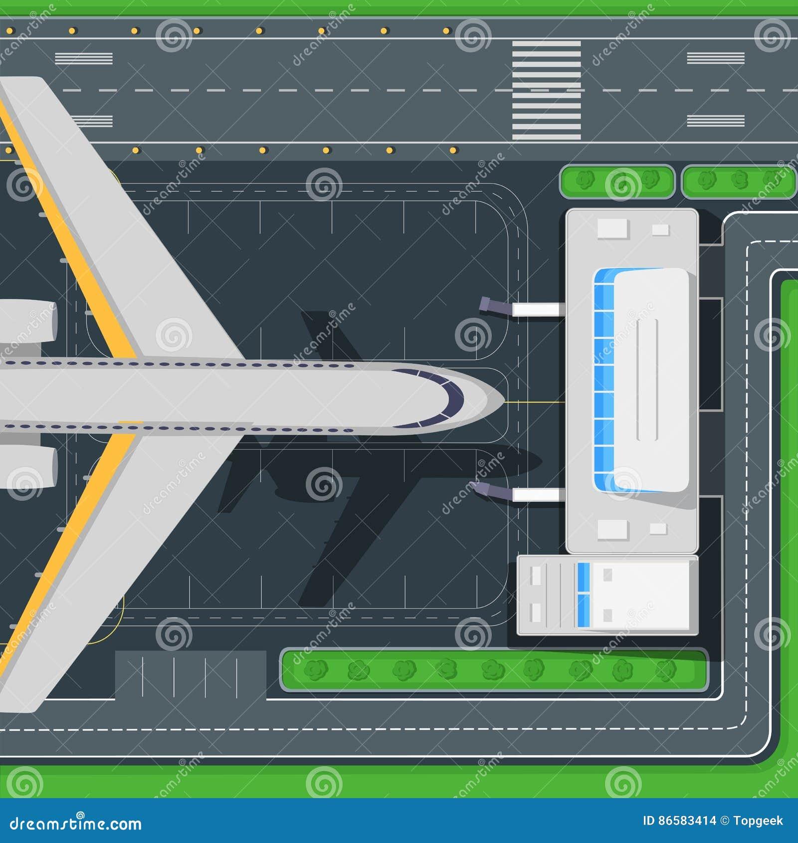 Airport Top View Vector Concept In Flat Design Stock Vector