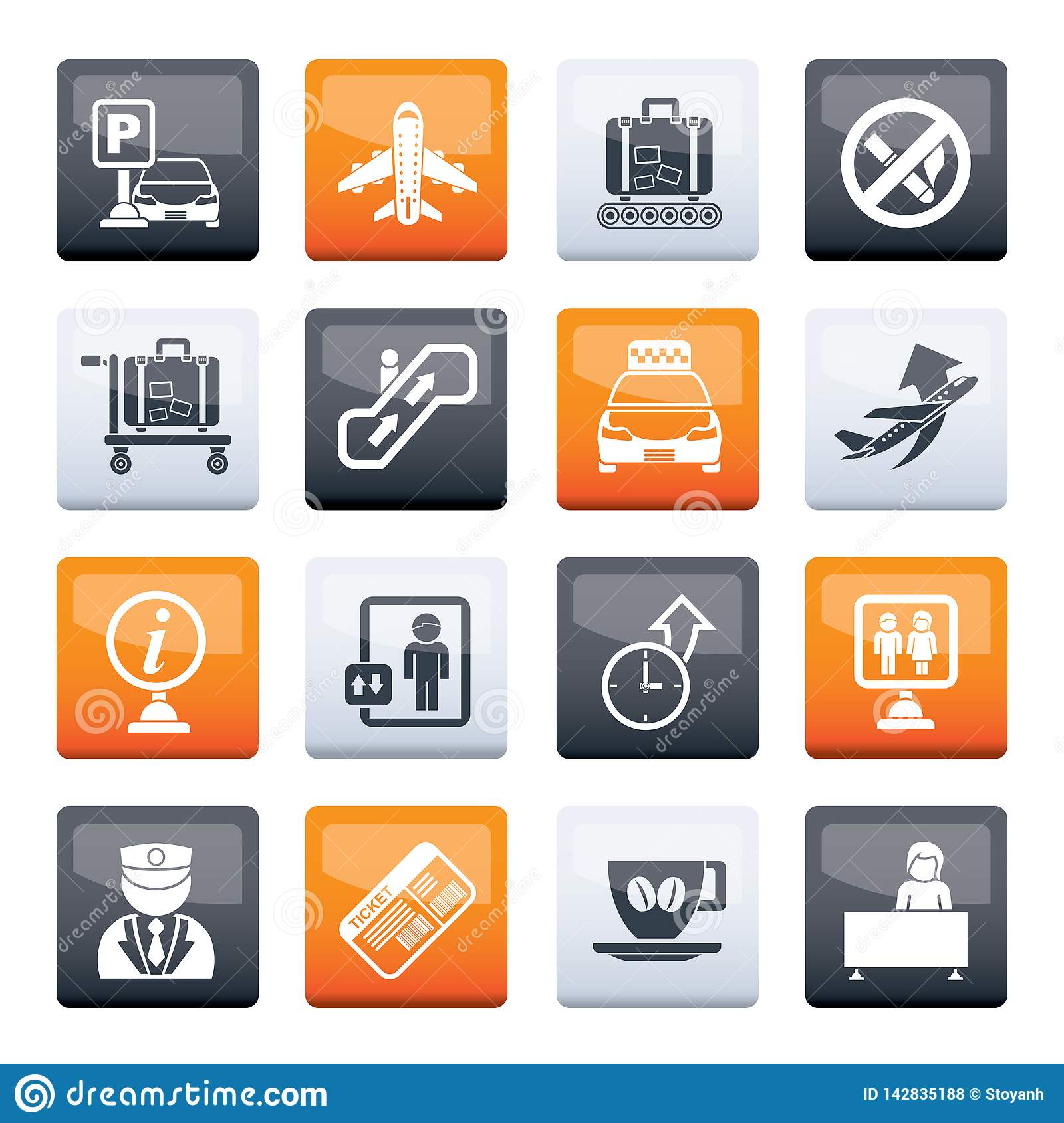 Airport and transportation icons over color background