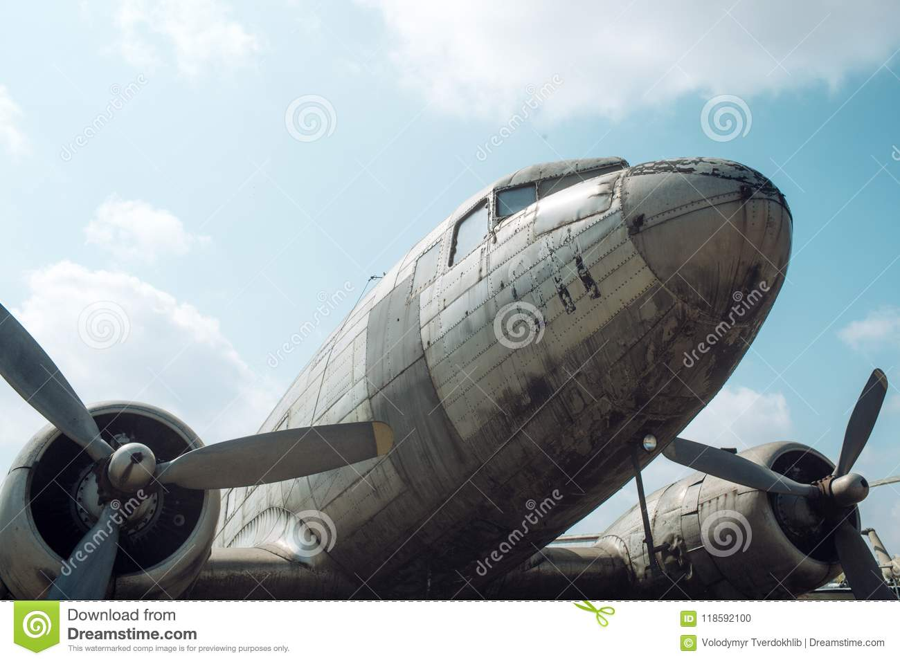 Airscrews of plane. Aircraft propellers detail. Rotation and swirling. Aviation and air transport. Wanderlust or