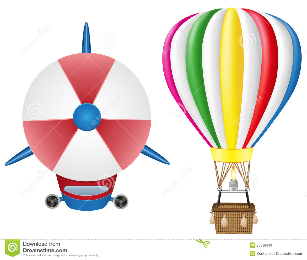 Airship zeppelin and hot air balloon royalty free stock images image 26888439