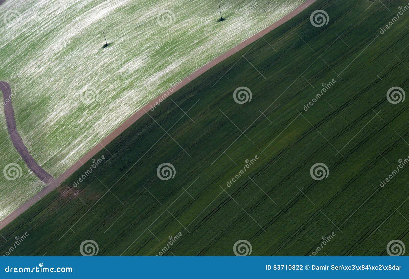 Airshot Of Fields Stock Photo