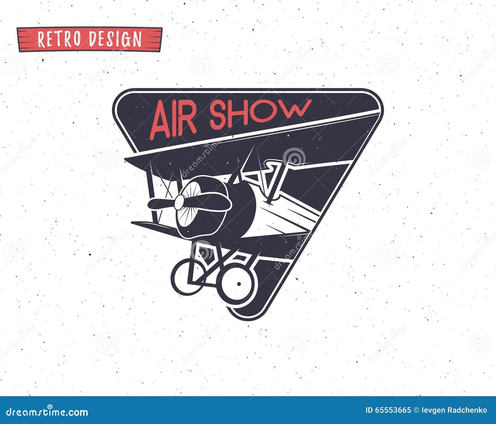 airshow emblem biplane label retro airplane badges design