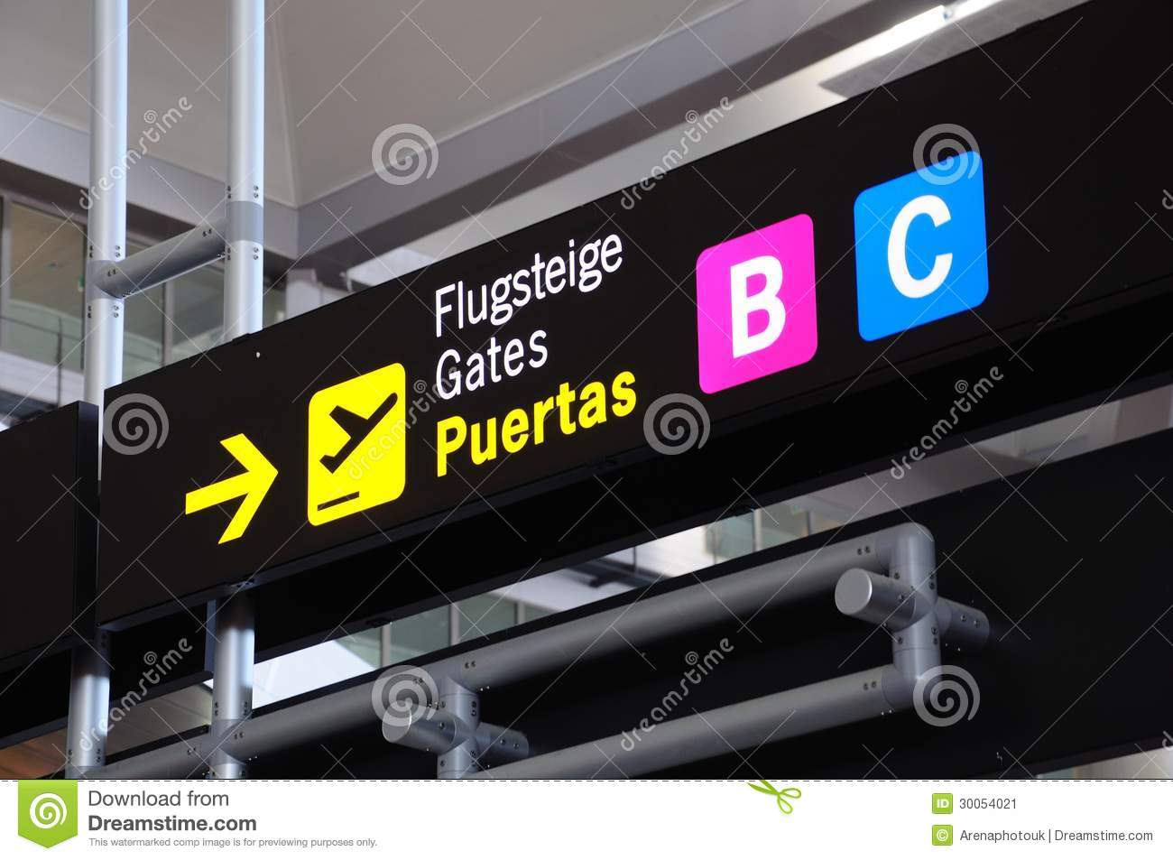 Stock Image Airside Overhead Airport Gate Signs Terminal Malaga Andalusia Spain Western Europe Image30054021 on 1