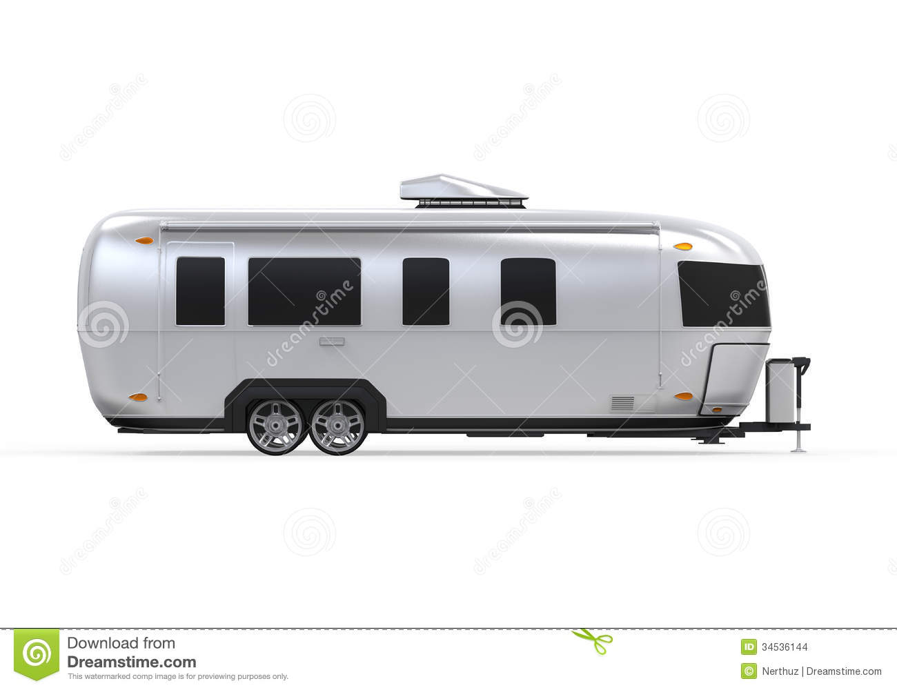 Airstream Camper Isolated On White Background 3D Render Stock Images