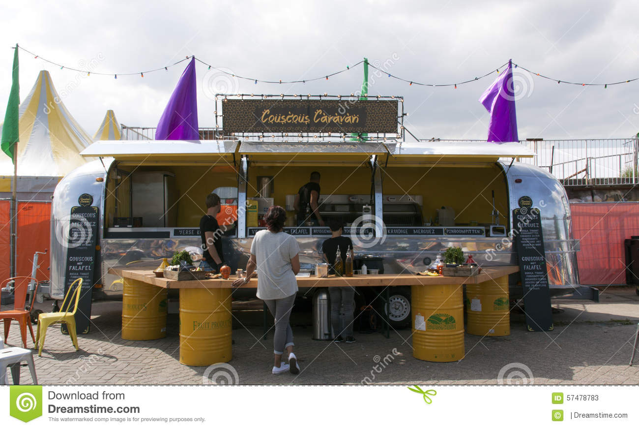 Airstream Caravan In Use As A Food Truck Selling Couscous Ams