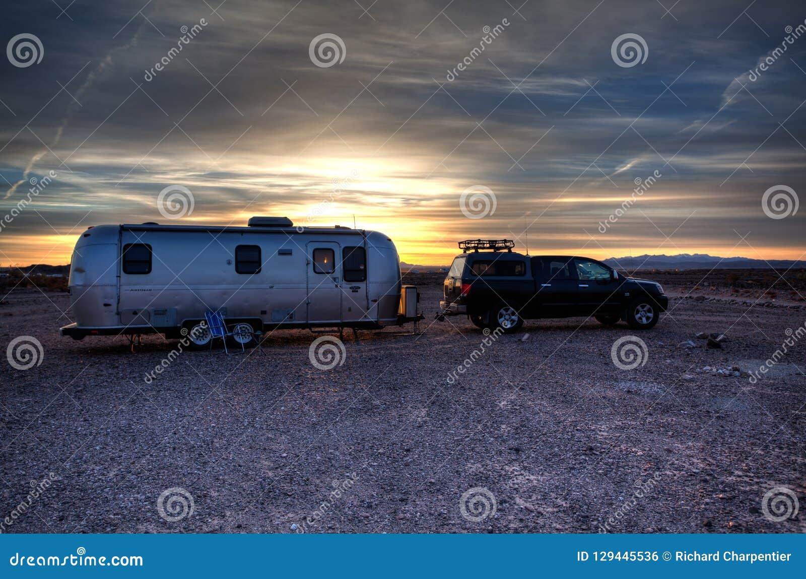 Airstream Retro Travel Trailer parked in the California Desert camping