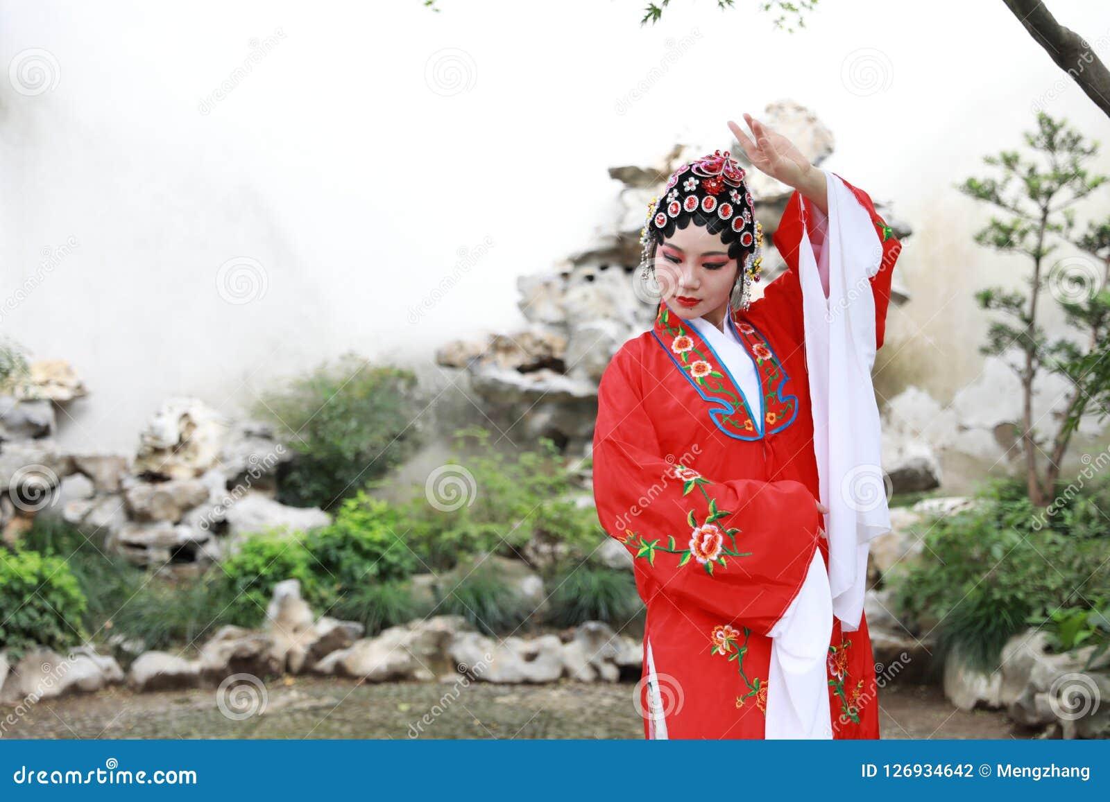 Aisa Chinese opera female Peking Beijing Opera Pavilion garden outdoor china traditional costume bride role drama play