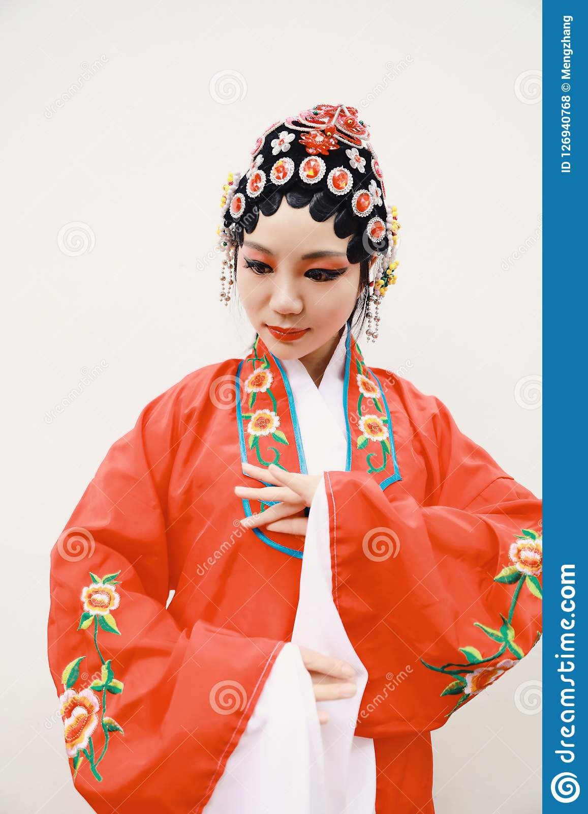 13feccd92 Aisa Chinese woman Peking Beijing Opera Costumes China traditional role  drama play bride White isolated background