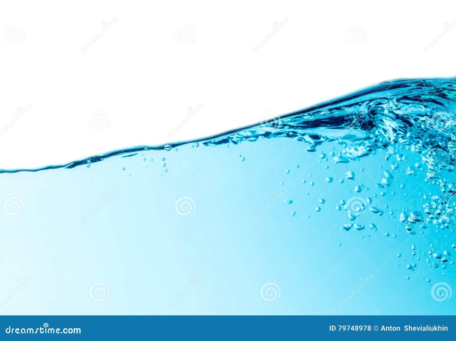 Aislado en linea horizontal superior de la onda de agua azul con el fondo de las burbujas