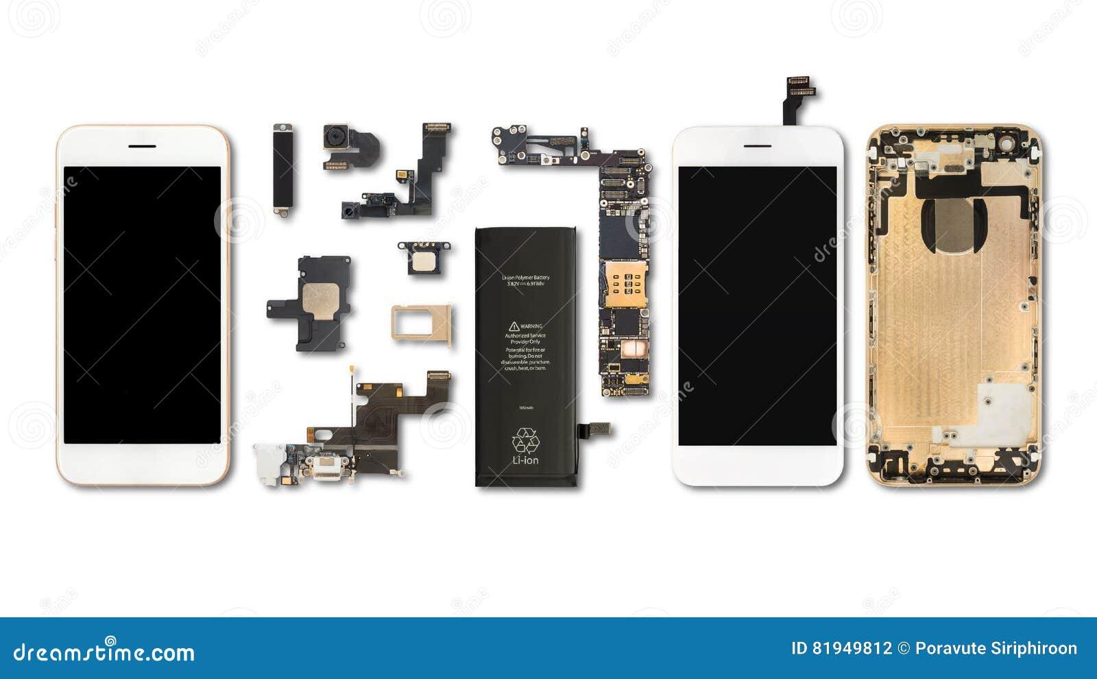 Aislante de los componentes de Smartphone en blanco