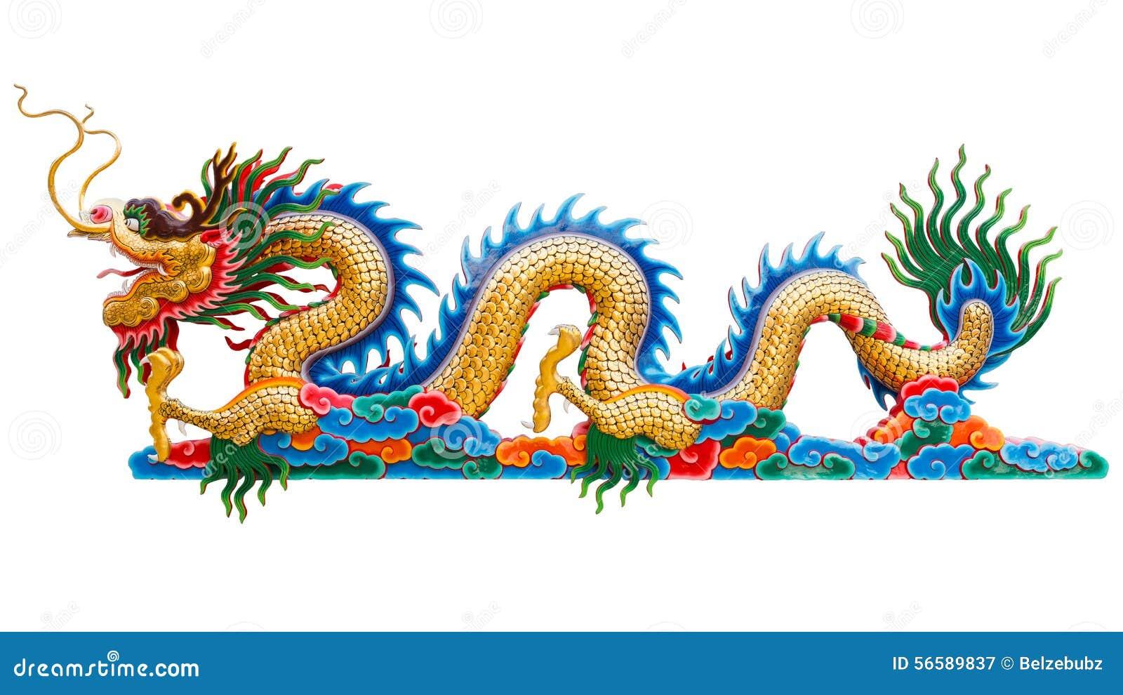 Aislante de oro chino de la estatua del dragón en el fondo blanco