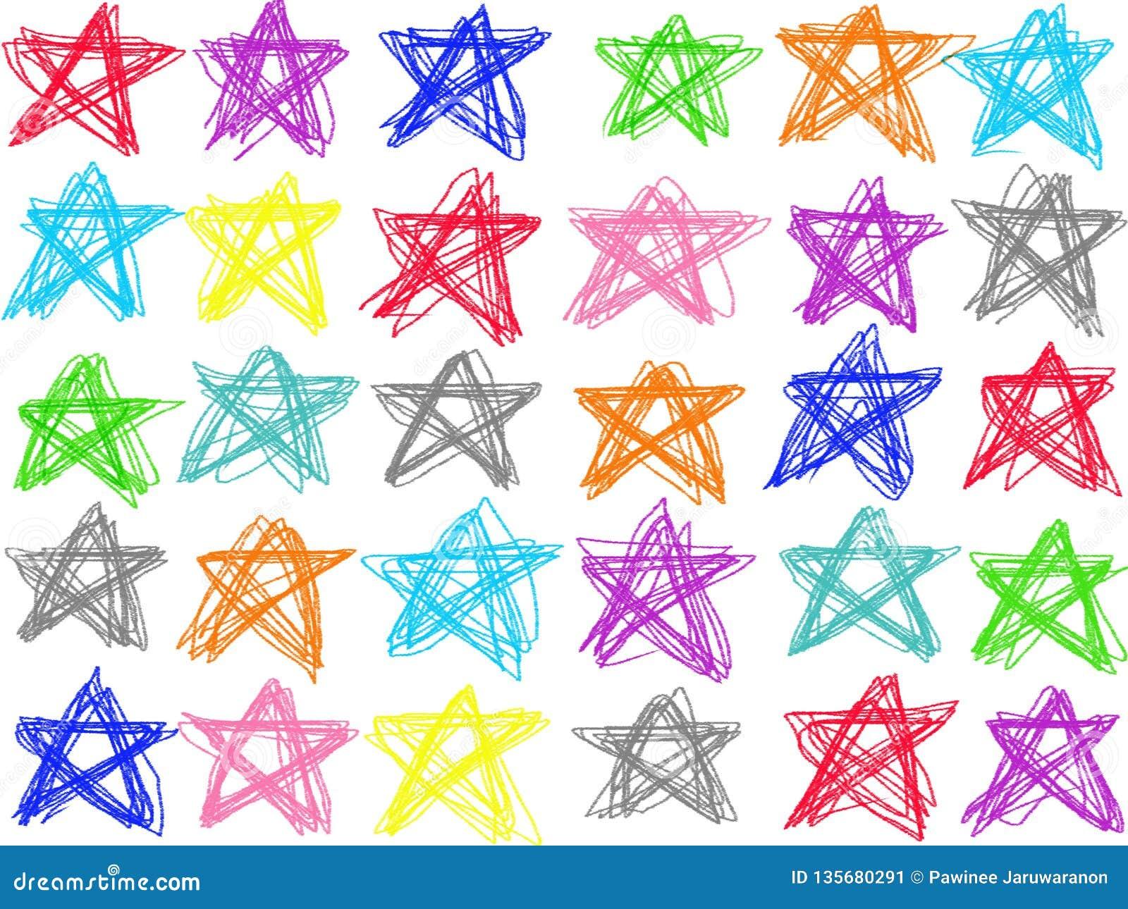 Aislante en colores pastel colorido del dibujo lineal de la estrella del garabato en el fondo blanco Ejemplo del creyón del color