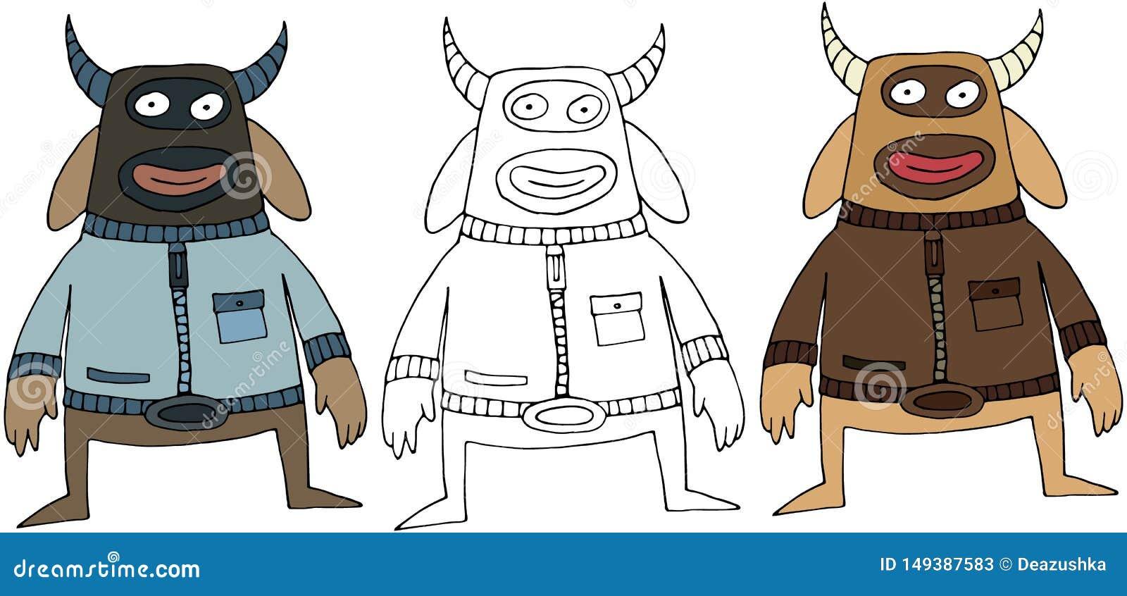 Aislante exhausto del monstruo de la historieta del color del garabato de la mano feliz divertida de la vaca