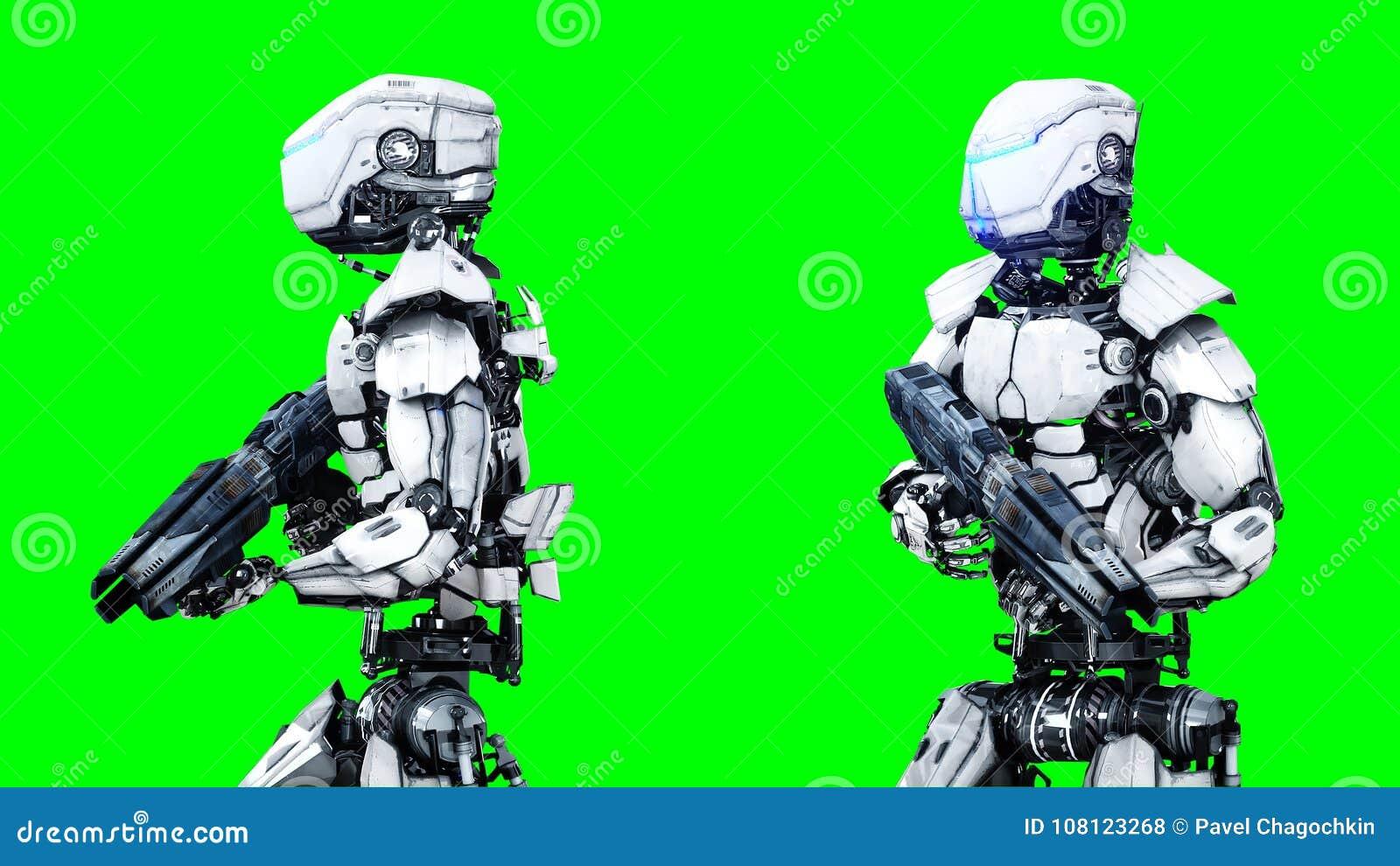 Aislante futurista del robot en la pantalla verde 3d realistas rinden