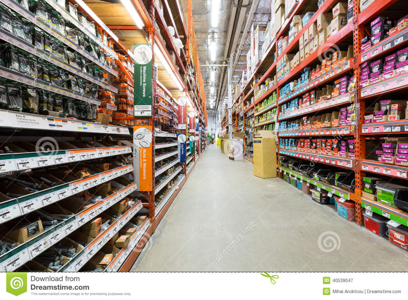 Aisle in a home depot hardware store editorial photography for Shop home depot