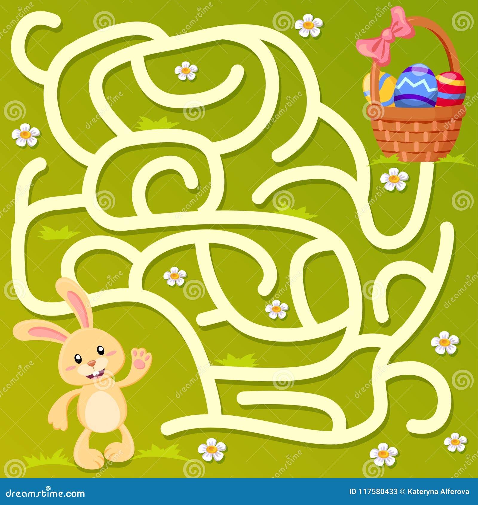 Aiuti poco percorso del ritrovamento del coniglietto al canestro di Pasqua con le uova labirinto Gioco del labirinto per i bambin