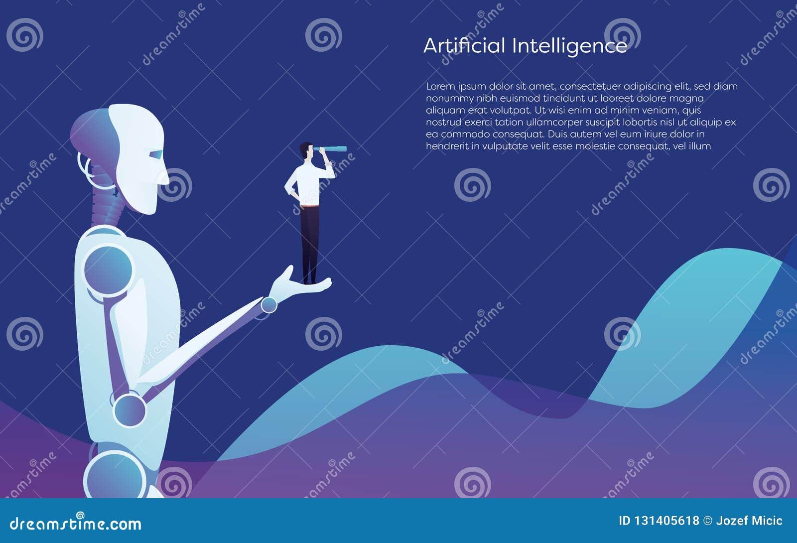 Aiuto del robot di intelligenza artificiale umano - tenere concetto disponibile di vettore dell uomo d affari Simbolo di tecnolog