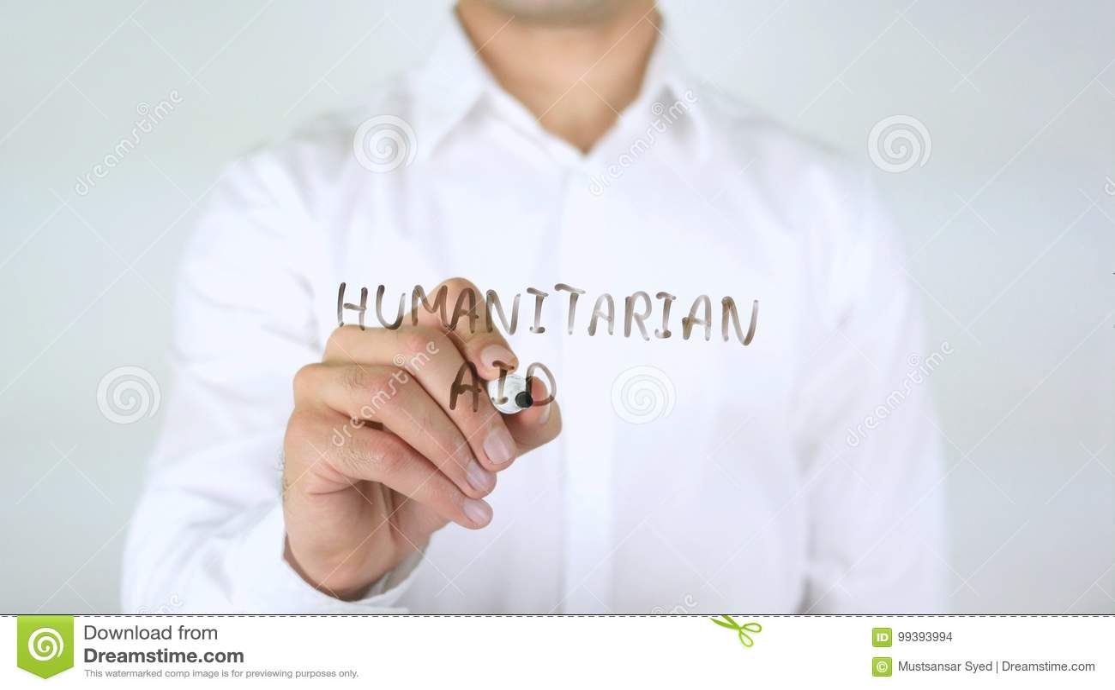 Aiuto umanitario, uomo d affari Writing su vetro