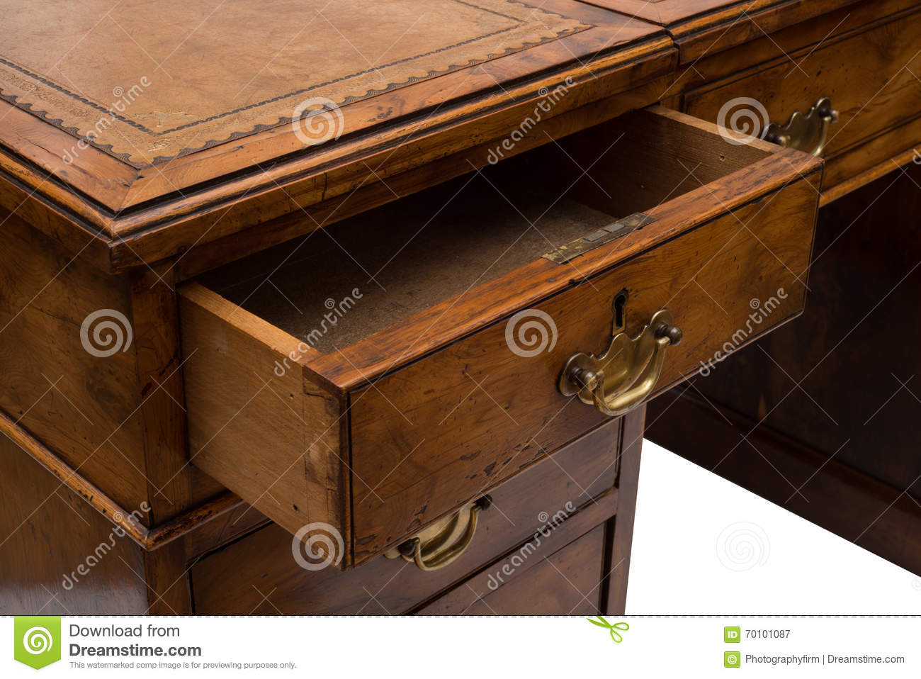 an ajar drawer of an antique wooden office table stock image image